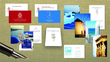 BUSINESS CARD: ILIOVSILEMA SUITES, ROCABELLA HOTELS, POMEGRANATE SPA HOTEL, SKION PALACE