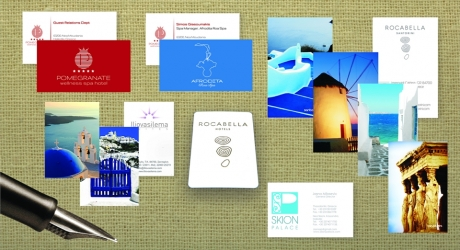 BUSINESS CARD: ILIOVASILEMA SUITES, ROCABELLA HOTELS, POME GRANATE SPA HOTEL, SKION PALACE